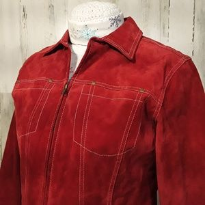 Coldwater Creek Jacket LARGE Red 100%Leather Suede